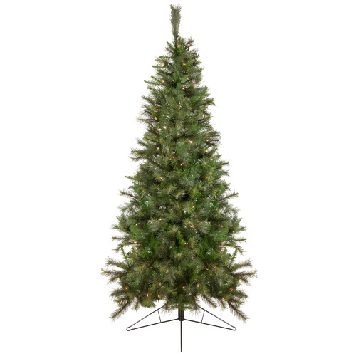 75 pre lit canyon pine artificial half wall christmas tree clear lights 32271946 - Half Christmas Tree