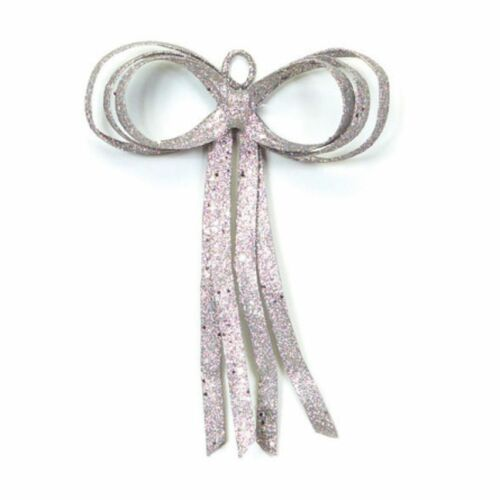 """16"""" Christmas Brites Glitter Drenched Silver Bow Decoration - 17103512"""