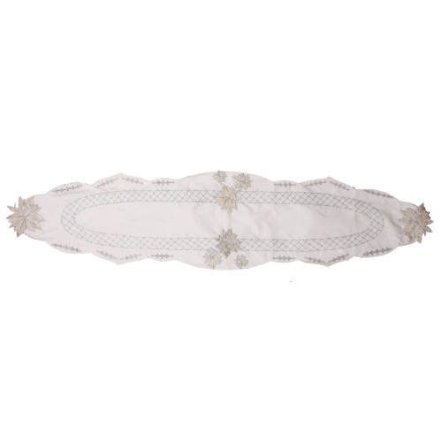 """68"""" x 16"""" Light Silver Floral Silk Hand Beaded Table Runner with Scallop Edge - 31011080"""