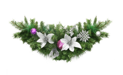 """30"""" Pre-Decorated Silver Poinsettia, Eucalyptus and Purple Ornament Artificial Christmas Swag - Unlit - 31452963"""