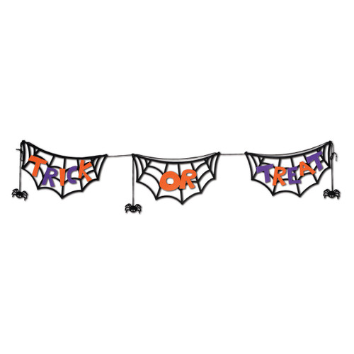 Club Pack of 12 Spooky Trick or Treat Felt Halloween Jointed Holiday Streamers 4.5' - 31557680