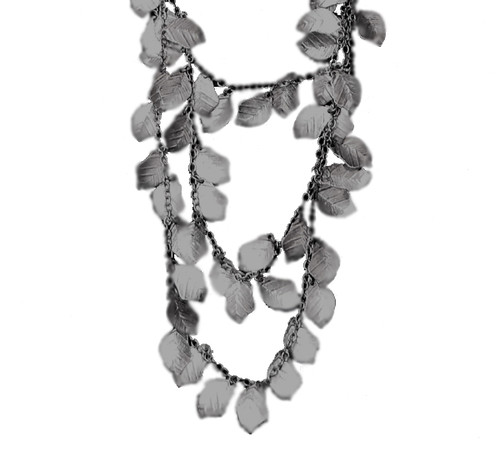Brushed Silvertone Leaves Fashion Jewelry Multistrand Necklace and Earrings Set - 28271890