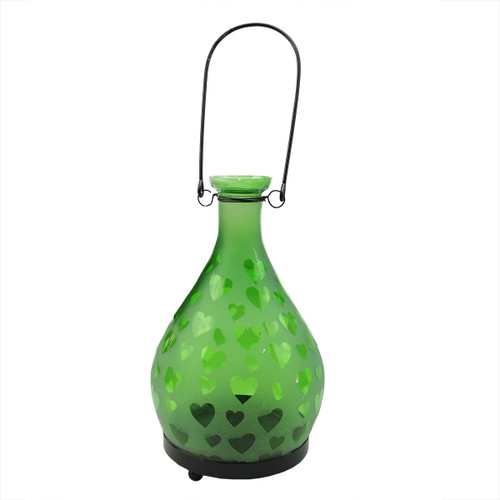 """8.75"""" Frosted Green Hearts Glass Bottle Tea Light Candle Lantern Decoration - 31799205"""