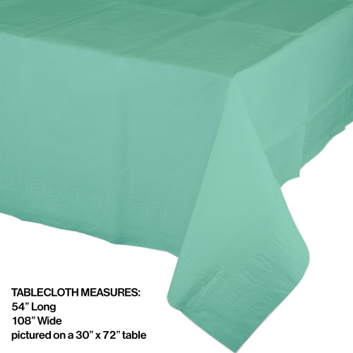 "Pack of 6 Fresh Mint Green Durable Heavy-Duty Plastic-Lined Tablecloths 54"" x 108"" - 32039997"
