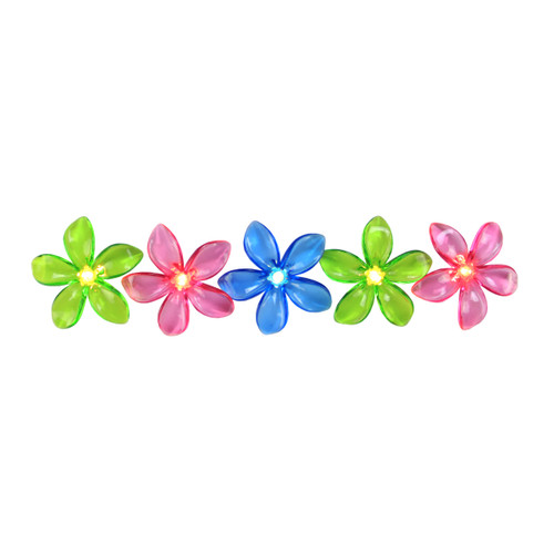 Set of 10 Pink, Blue and Green Flower Patio and Garden Novelty Christmas Lights - White Wire - 32208254