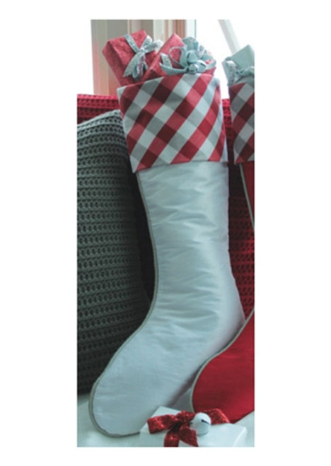 "19"" Country Cabin White Christmas Stocking with Red and Gray Tartan Plaid Cuff - 30656764"