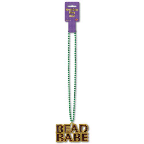 "Club Pack of 12 Shiny Green Mardi Gras Beads with ""Bead Babe"" Medallion Party Necklaces 36"" - 31559719"