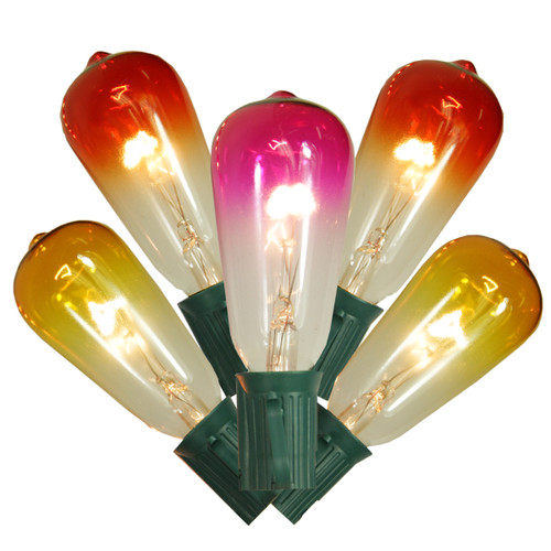 Set of 10 Transparent Summer Sunset Ombre ST40 Edison Christmas Lights - Green Wire - 31302150