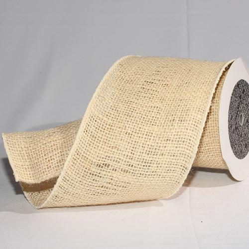 "Natural Cream Burlap Wired Craft Ribbon 5"" x 10 Yards - 31384861"