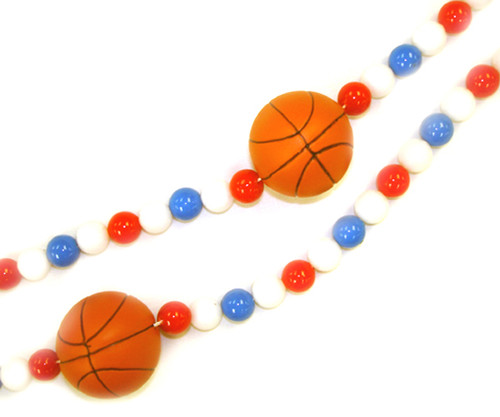 6' Red, White And Blue Beaded Basketball Christmas Garland - 5637480