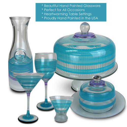 Set of 2 Turquoise Retro Stripe Hand Painted Wine Drinking Glasses - 10.5 Ounces - 31010639