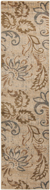 3' x 7.2' Paisley Leaves Tan & Olive Green Shed-Free Rectangular Throw Rug Runner - 30889244