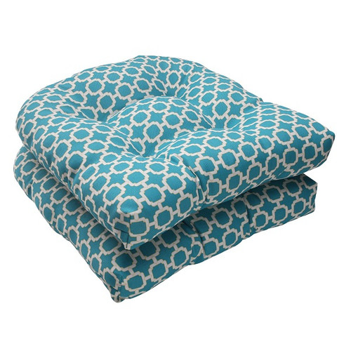 """Set of 2 Moroccan Mosaic Blue Outdoor Patio Furniture Tufted Chair Cushions 19"""" - 30951411"""