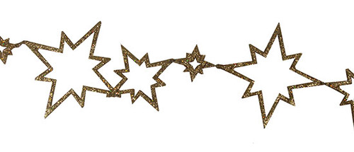 6' Gold Glitter Flat Star Shaped Christmas Garland - 30657388