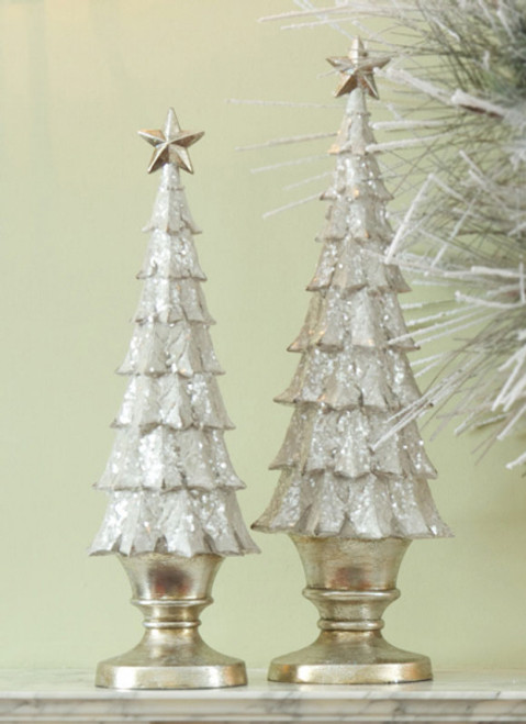 Set of 2 Gold Glittered Holly Leaf Table Top Christmas Tree Decorations - 31106346