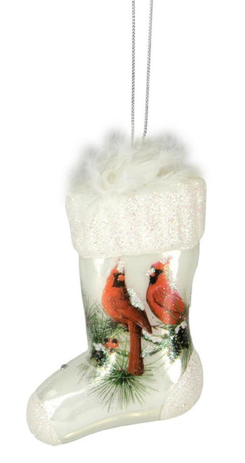 Nature's Story Teller Stocking Shaped Christmas Ornament with Cardinals - 9729190