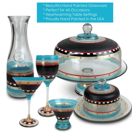 Mosaic Chalkboard and Stripes Hand Painted Glass Serving Carafe 34 Ounces - 31010928