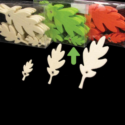 """Club Pack of 144 Lime Green Fuzzy Felt Leaves in Assorted Sizes 1"""", 2"""", 3"""" - 31391182"""