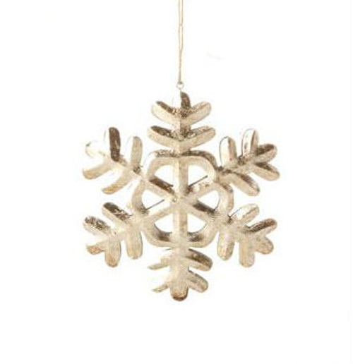 "5"" Country Cabin Antique-Style Speckled Silver Tin Snowflake Christmas Ornament - 31104263"