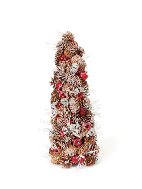 """20"""" Eco Country Iced Pine Cone Artificial Apple Berry Christmas Tree - 17103670"""
