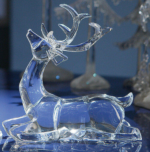 "Pack of 4 Icy Crystal Sitting Deer Decorative Figurines 7.5"" - 31002115"