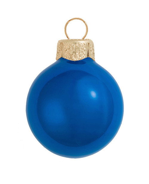"2ct Pearl Cobalt Blue Glass Ball Christmas Ornaments 6"" (150mm) - 30940083"
