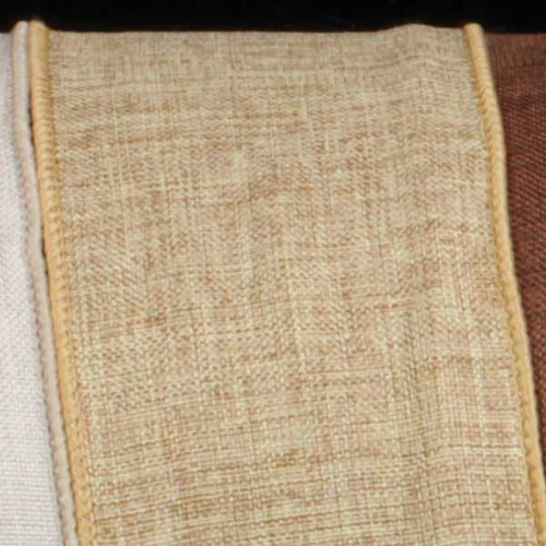 "Natural Tan Wired Fine Linen Burlap Craft Ribbon 2.5"" x 40 Yards - 30931540"