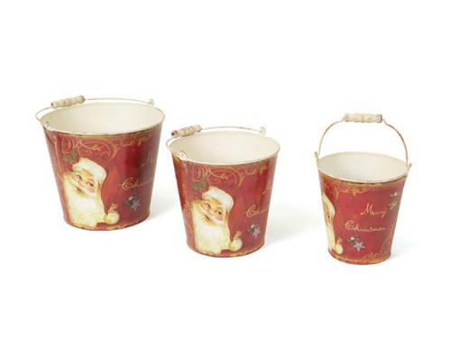Set of 3 Retro Santa Claus Tall Vintage Style Decorative Christmas Buckets - 30656786