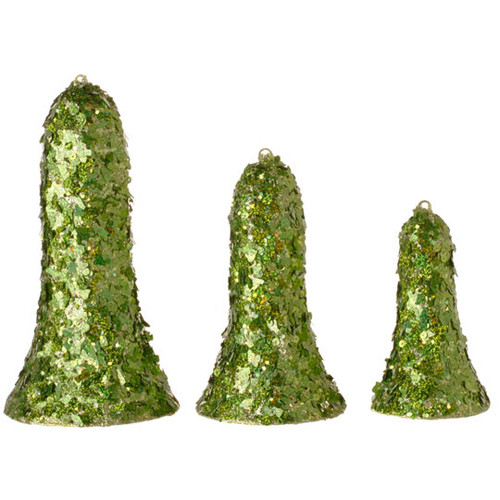 Set of 3 Christmas Brites Green Sequined Bell-Shaped Christmas Ornaments - 16183008