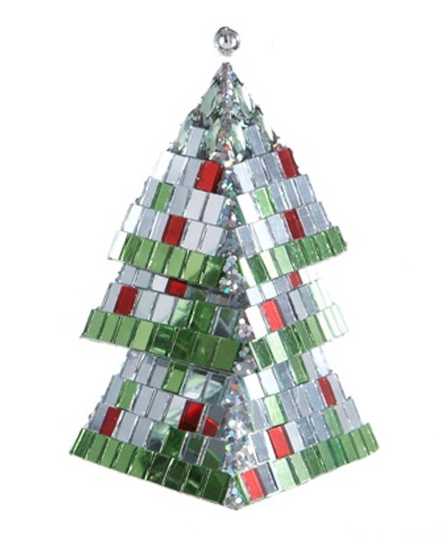 "5"" Christmas Brites Mirrored Mosaic Triangular Tiered Christmas Tree Ornament - 30851643"