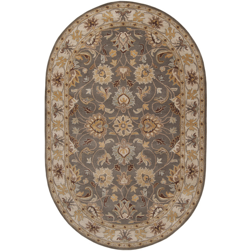 6' x 9' Augustus Heather Gray & Brown Taupe Hand Tufted Wool Oval Area Throw Rug - 28457525