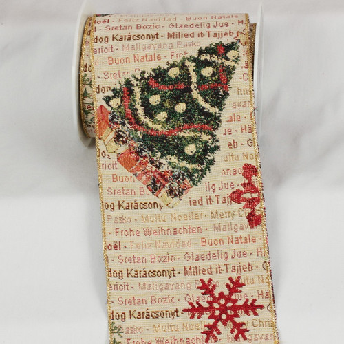 """Oh Christmas Tree Gobelin Tapestry Wired Craft Ribbon 6"""" x 9 Yards - 31392411"""