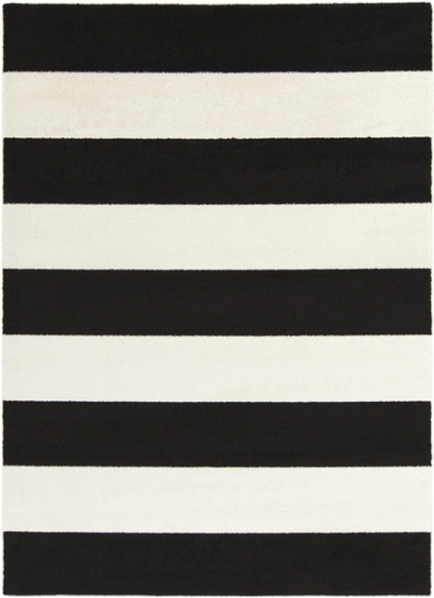 9.25' x 12.5' Bold Stripes Black and Snow White Decorative Area Throw Rug - 31302004