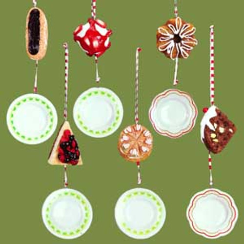 Set Of 6 Dangling Cake Plates With Desserts Christmas Ornaments - 5244620