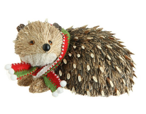"8.5"" Snowy Time Natural Grass Brown Hedgehog Christmas Table Top Piece - 31451491"