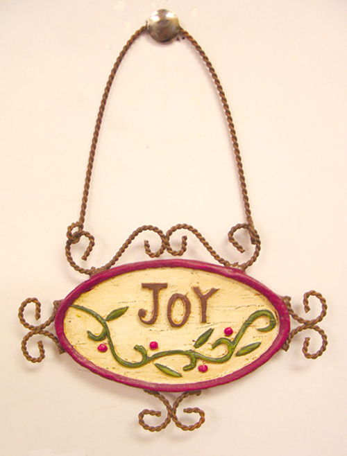 "Antique Copper ""Joy"" Holly Berry Christmas Ornament 5"" - 5191497"