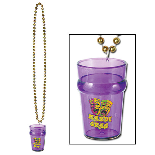 """Club Pack of 12 Gold Beads With Purple Mardi Gras Glass Party Necklaces 33"""" - 31557082"""