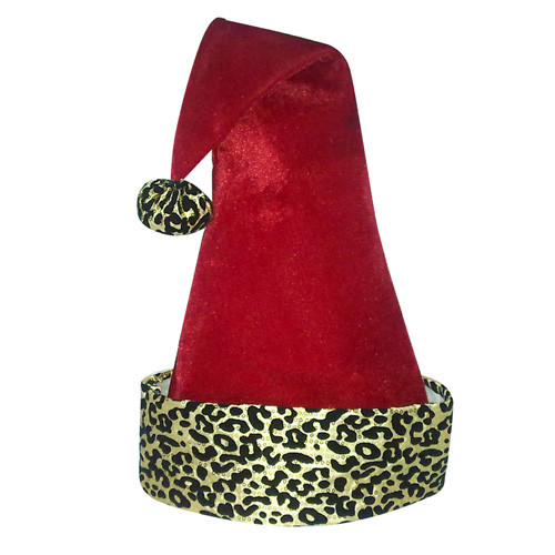 """22"""" Diva Safari Adult Red Velveteen with Gold Print Santa Hat with Pompom - 31093273"""