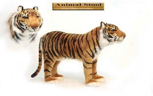 "30.5"" Life-Like Handcrafted Extra Soft Plush Tiger Stool Stuffed Animal - 31367916"