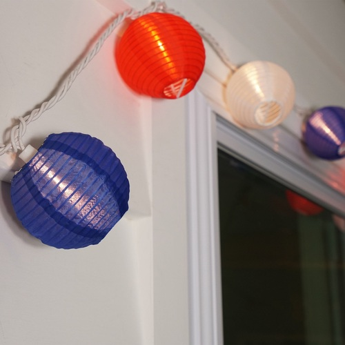 Set of 10 Red, White and Blue Round Chinese Lantern Patio Lights - White Wire - 30921349