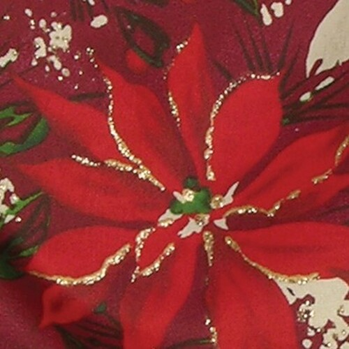 "Metallic Burgundy Red Poinsettia Print Wired Craft Ribbon 4"" x 20 Yards - 31386390"