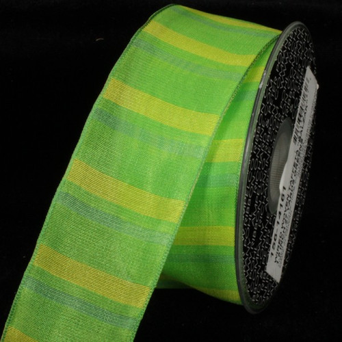 """Semi Sheer Green and Yellow Stripes Woven Wired Craft Ribbon 1.5"""" x 27 Yards - 31384929"""