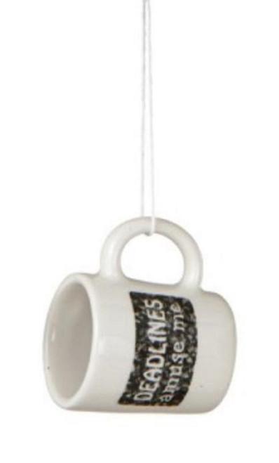 "Black and White ""Deadlines Amuse Me"" Workplace Humor Mug Christmas Ornament 2.25"" - 31450680"