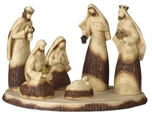 Set of 7 Inspirational Wood Look Religious Christmas Nativity Scene with Base - 30890441