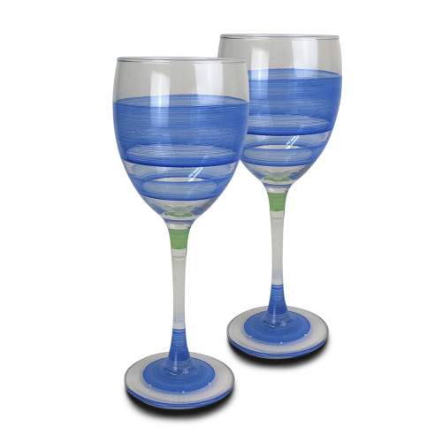Set of 2 Blue Retro Stripe Hand Painted Wine Drinking Glasses - 10.5 Ounces - 31010659