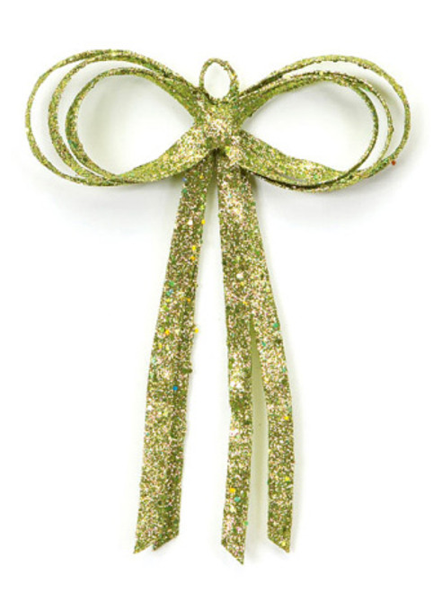 """12"""" Christmas Brites Glitter Drenched Green Bow Decoration - 17103448"""