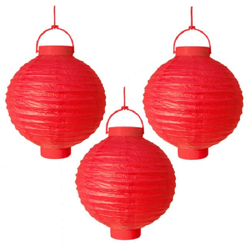 "Pack of 3 Lighted Battery Operated Red Garden Patio Chinese Paper Lanterns 8"" - 31065894"