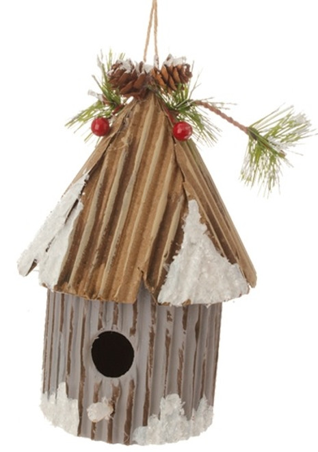 """6"""" Country Cabin Frosted and Glittered Gray Birdhouse Christmas Ornament - 31728987"""