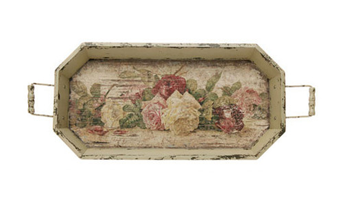 "24"" Vintage Rose Distressed Finish Cream Floral Pattern Decorative Tray - 31350013"