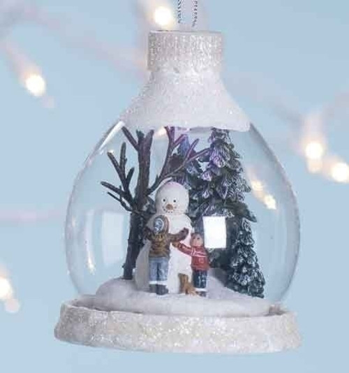 "4"" Amusements LED Lighted Snowman with Kids Christmas Ornament - 30890658"